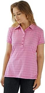 Home-way Women's Fashion Breathable Stripe Cotton Short Sleeve Polo T-Shirt Soft Comfort Summer Tee Shirt