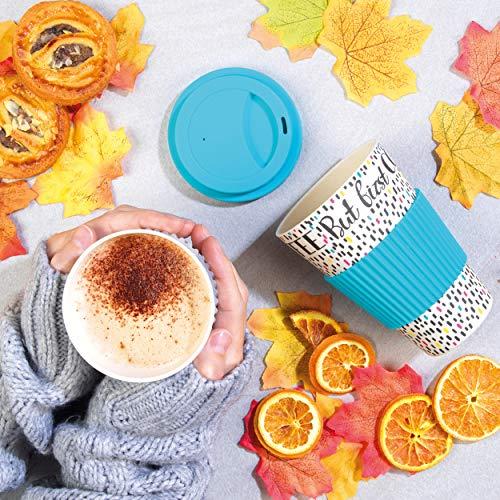 Cambridge CM05634 But First Coffee Reusable Durable Travel Mug, Bamboo Fibre Mix, Blue, 16 oz