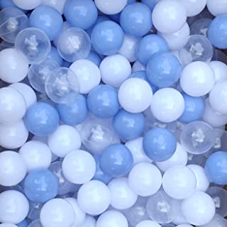 Thenese Pit Balls for Kids, 100 pcs 2.15 Inches Thicken Soft Plastic Crush Proof Ball Pit Balls BPA Phthalate Free Baby Toddler Toy Ball with 3 Color White Clear and Blue