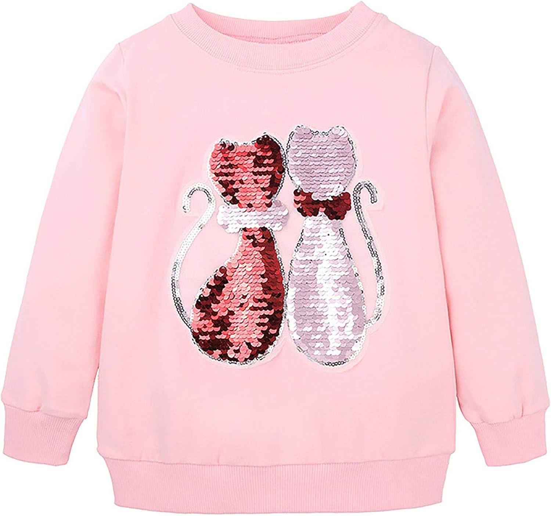 dPois Kids Girls' Comfort Crew Neck Soft Tops Basic Long Sleeve Printed Lovely Cartoon Pattern T-Shirt for Spring Autumn