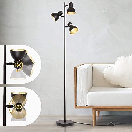 Albrillo Lampadaire rétro orientable avec 3 ampoules et culot E27, max. 40 W et pied - Noir/doré - 160 cm - Lampe sur pied en métal pour salle de lecture, chambre à coucher, bureau