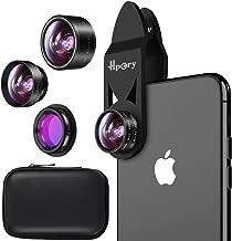 Hpory Phone Camera Lens Kit 5 in 1 Universal Lens Kit for iPhone 8 7 Plus 6 & Most Smartphone 0.63x Wide Angle Lens 15x Macro Lens 198° Fisheye Lens CPL Lens 2X Telephone Lens