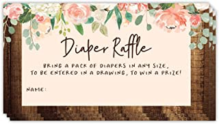 Baby Shower Party Diaper Tickets Enter Raffle Drawing Game 48 Pack Guest Invitation Inserts Pink Flowers Rustic Barnwood Fill in Name Cards Win Prizes Mom to Be Infant Girl 3.5 x 2 Inches Digibuddha