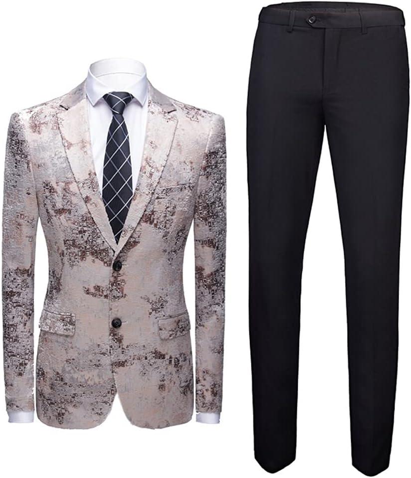NJBYX 2 Pieces Men Suit Floral Tuxedo Dress Suit Jacket Black Pants Print Men Suits for Wedding (Color : D, Size : 5XL for 86-92kg)