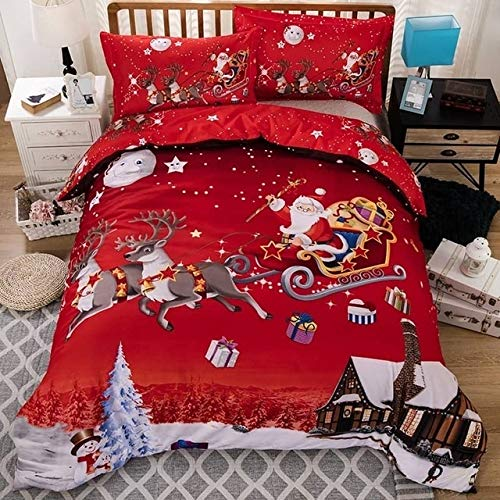45532rr Santa Claus Red Duvet Cover and Pillow Case Set 3D Merry Christmas Bedding Set, Size:200x200cm(Red) (Color : Red)