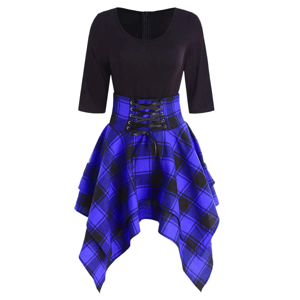 Available at Amazon: FANORAD Women Dresses O-Neck Lace Up Plaid Print Dresses For Party Dress
