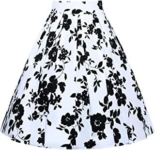 JUSSON Women's Skirt Printed Pleated Skirt Midi Skirt Cotton Fabric-Black and white