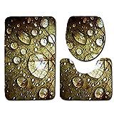 Tappetini da Bagno Set 3 Pezzi Tappeto Bagno Lavabile in Microfibra Gocce d'acqua Set Tappetino WC Antiscivolo con Contorno Tappeto da Toilette a Forma di U per Bagno 40 x 60 cm