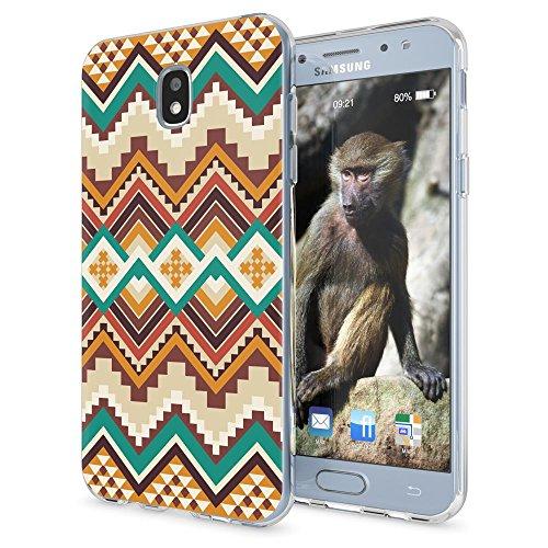 NALIA telefoonhoesje compatibel met Samsung Galaxy J7 2017 (EU-model), ultra-slim hoesje TPU silicone motief case cover helder dun doorzichtig, etui bumper transparant, Indian patroon