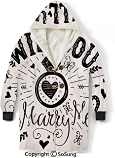 Engagement Party Decorations Blanket Sweatshirt,Western Themed Will YOu Marry Me Quote with Hearts Image Wearable Sherpa Hoodie,Warm,Soft,Cozy,XL,for Adults Men Women Teens Friends,Black and White