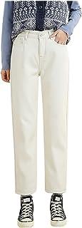 SEEGOU Pantalones vaqueros de invierno para mujer y niña, gruesos de felpa, elásticos, estrechos, ajustados, cálidos, de t...