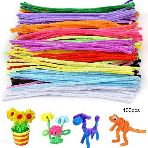 Amasawa 100 Piezas DIY Limpiadores de Pipa Pipe Cleaners para Niños de Peluche para Manualidades y Decorar (Colorear)