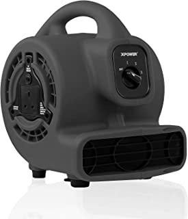 XPOWER P-80A Mini Mighty Air Mover Floor Fan Dryer Utility Blower With External Outlet Plug (Black)