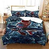 AZJMPKS Spiderman Ropa de cama de microfibra, diseño de Spiderman, con funda de edredón y funda de almohada, impresión digital 3D, ropa de cama para niños (A10,135 x 200 cm + 75 x 50 cm x 1)