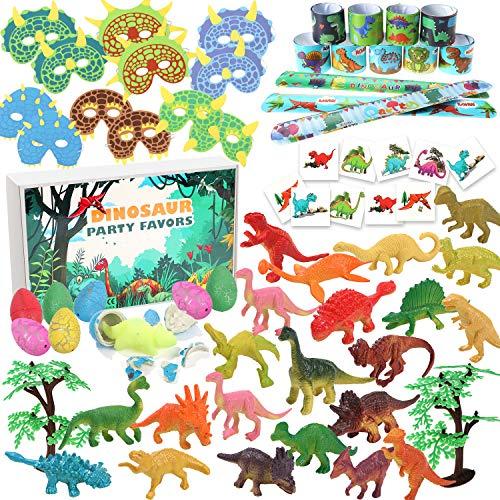 Tacobear Dinosaurier Party Mitgebsel Mini Dinosaurier Figuren Schnapparmband Dinosaurier Ei Dinosaurier Maske Dinosaurier Tattoo Aufkleber für Kinder Dinosaurier Kindergeburtstag Mitgebsel