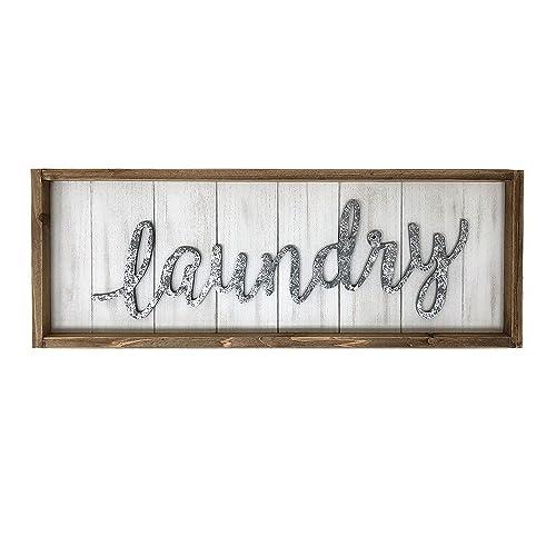 Paris Loft Rustic Laundry Wood Wall Sign Plaque, Laundry Room Decor Wall Hanging Sign Decor
