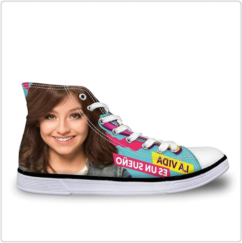 Dmoshibei Soy Luna Flats shoes Women's Vulcanie shoes Teen Girl Autumn Lace Up Sneakers 3D Soy Luna Print High Top Canvas shoes Y0565AK 41