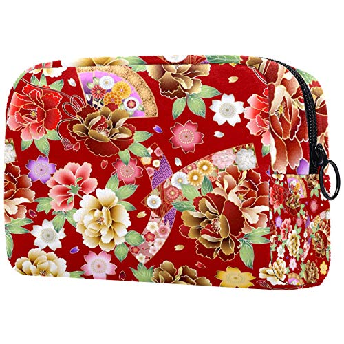 Neceser de Maquillaje Estuche Escolar para Cosméticos Bolsa de Aseo Grande Abanico Plegable Floral de peonía Japonesa patrón Rojo