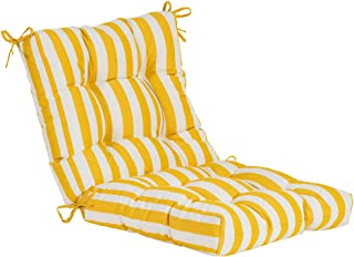 QILLOWAY Outdoor Seat/Back Chair Cushion Tufted Pillow, Spring/Summer Seasonal Replacement Cushions. (Yellow&White Stripe)