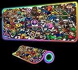 Alfombrilla de ratón RGB con Personajes de Videojuegos Accesorios para Jugadores Escritorio de Ordenador con LED Grande para Juegos con Alfombrilla de Goma retroiluminada, 900x400x4 mm