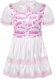 CHICTRY Men's Adult Baby Sissy Crossdress Pajamas Outfit Frilly Satin French Maid Uniform Fancy Dress