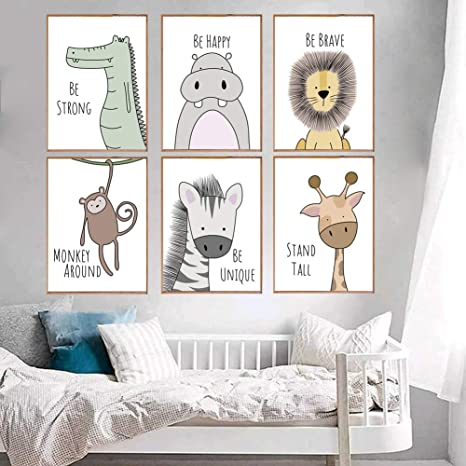 Amazon.com: Cute Animals Wall Art Canvas Print Poster For Nursery Wall Decor Wall Art Painting For Baby Room Decor Kids Room Decoration (colour1 Unframed): Posters & Prints