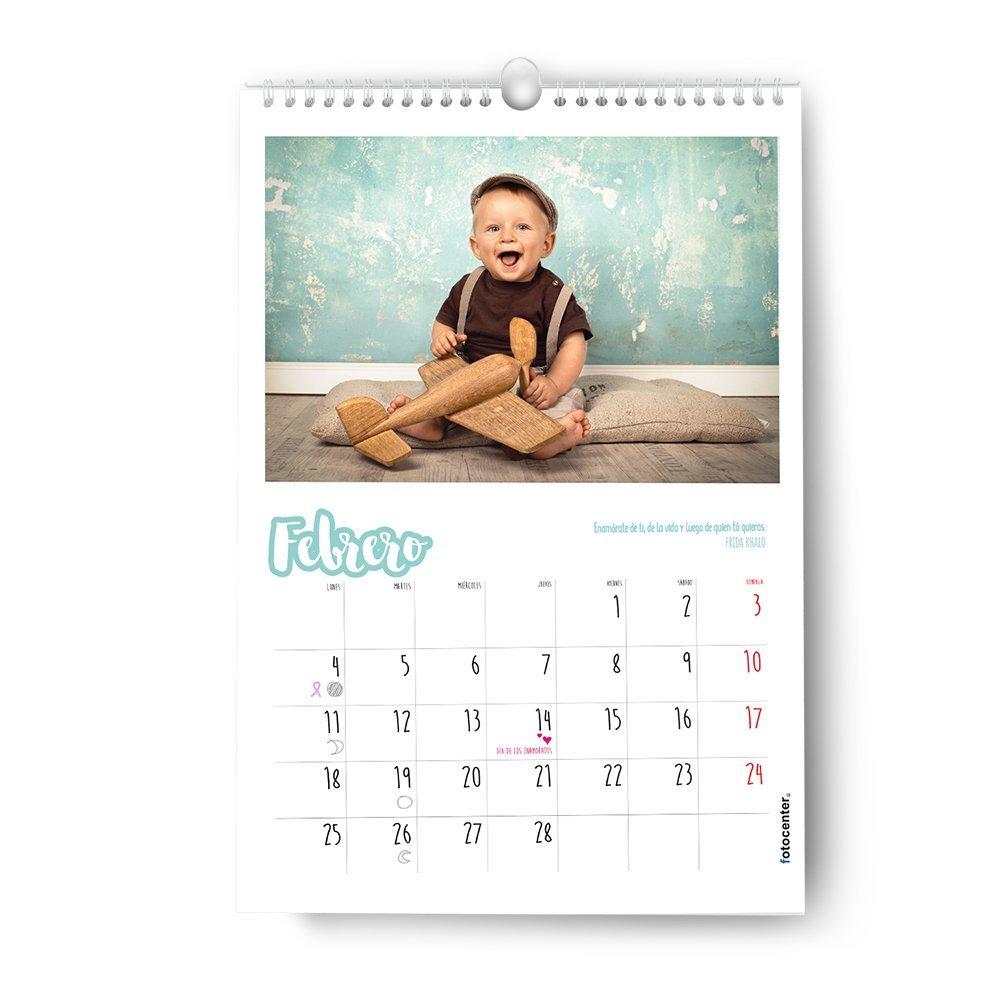 Fotocenter Calendarios Personalizados de Pared Espiral 21 x 30 cm de 14 p/áginas Imprime tu Pack de 2 calendarios id/énticos.