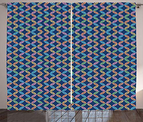 ABAKUHAUS Pastel Cortinas, Cadenas de Flores japonesas Oval, Sala de Estar Dormitorio Cortinas Ventana Set de Dos Paños, 280 x 245 cm, Multicolor