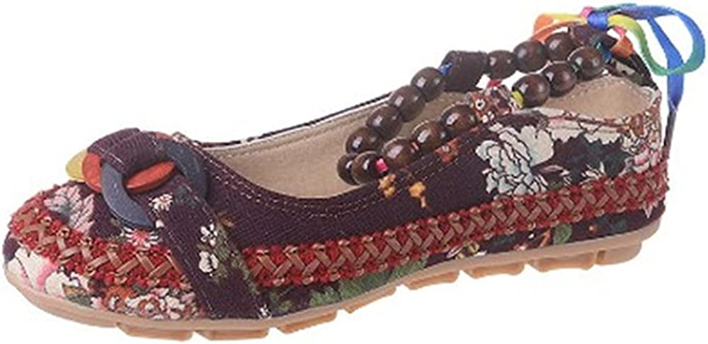Retro Women Strappy Beaded Woven Embroidery Cloth Shoes National Wind Antiskid