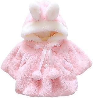 Happy Cherry Baby Girls Fur Warm Coat Cloak Overcoat Hoodies Cute Outdoor Suit