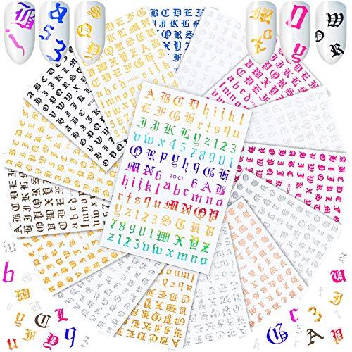 16 Farben Holographisch Buchstabe Nagelkunst Aufkleber Selbstklebende Zahlen Nagelaufkleber Alte Englisch Wörter Alphabet Nagel Abziehbilder für Acryl Nagelkunst Dekoration