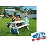 White foldable Children's Picnic Table 600 lbs plastic compact durable