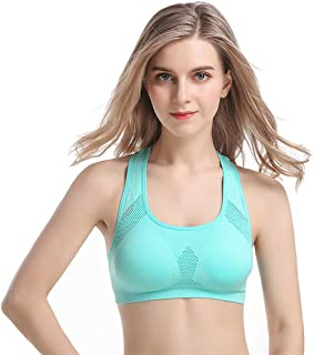 Jlihang Breathable Racerback Sports Bras for Women- Padded Seamless High Impact Support for Yoga Gym Workout