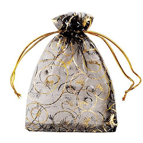 MEJOSER 100 Bolsas de Organza Bolsitas Tul 12x9cm con Pestaña Saquitos Arroz Regalo Joyas Caramelo Dulces Recuerdo Favores Detalles para Navidad Boda Fiesta Bautizo con Cintas Negro