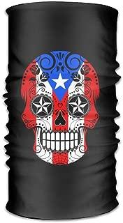 ONEHEARTHR Puerto Rican Flag Sugar Skull Versatile Outdoors Daily Stylish Headwear Multifunctional Sport Headband Sweatband,Magic Scarf,Head Wrap,Neck Gaiter,Bandana,Helmet Liner, Balaclava,Tube Mask