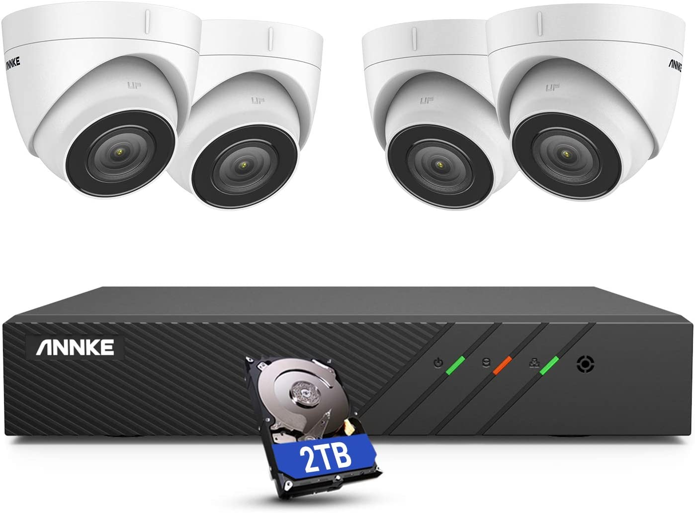 ANNKE H500 8CH Turret PoE Security Camera System with 6MP H.265+ NVR, 4X 5MP Outdoor IP Camera,2TB HDD, Audio Recording, 100ft EXIR 2.0 Color Night Vision, IP67 Weatherproof, 24/7 Video Surveillance