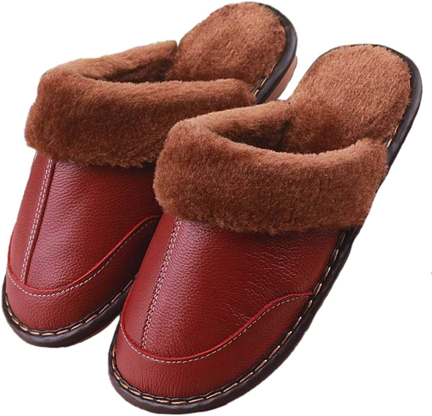 Nafanio Winter Warm Indoor shoes Thick Wool Women Men Couple Furry Sheepskin Genuine Leather Slippers