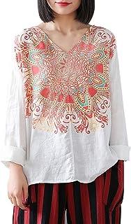 DIDWZW Women V-neck Long Sleeve Tops, Classic Floral Print Casual Linen T-Shirt Loose Pullover Top Blouse Fashion Tee Shirt, S-XXXXXL