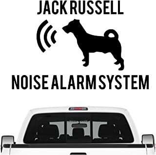 Siviwonder Jack Russell Noise Alarmsystem Auto Aufkleber Hund Folie JRT Russel Farbe Schwarz Matt, Größe 10cm