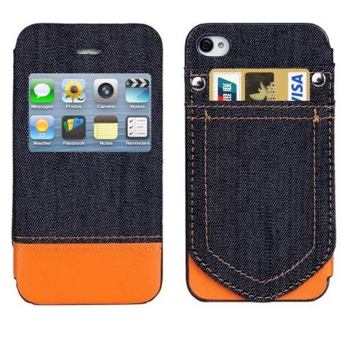 Xyamzhnn Hblzz Funda telefónica Jeans Style Horizontal Flip Funda de Cuero con Ranuras de Tarjetas de crédito y ID de Pantalla de Llamadas para iPhone 4 y 4S (Color : Orange)