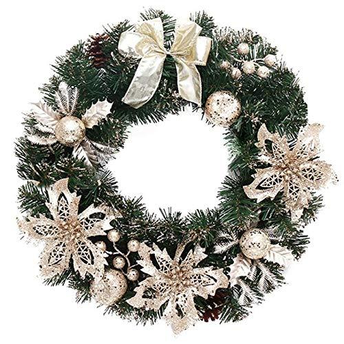IADZ Corona de Navidad, 40 cm, hermosa y elegante para colgar, guirnalda de Navidad, guirnalda de flores con purpurina, bola de frutas
