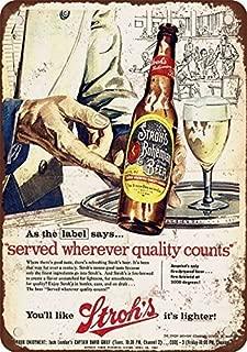 metal Signs 1957 Stroh's Bohemian Beer Vintage Look Reproduction Metal Tin Sign