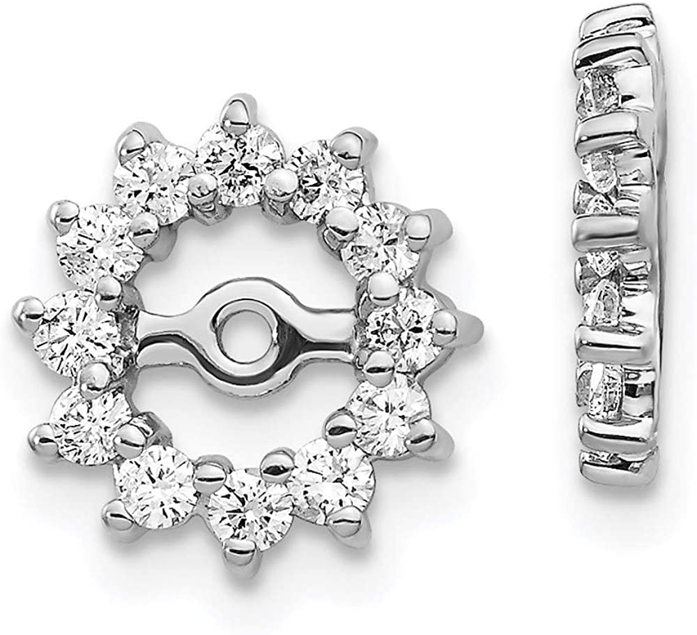 14k White Gold Fancy Diamond Earring Jacket Mountings 10mm 10mm style EJM5323-050-W
