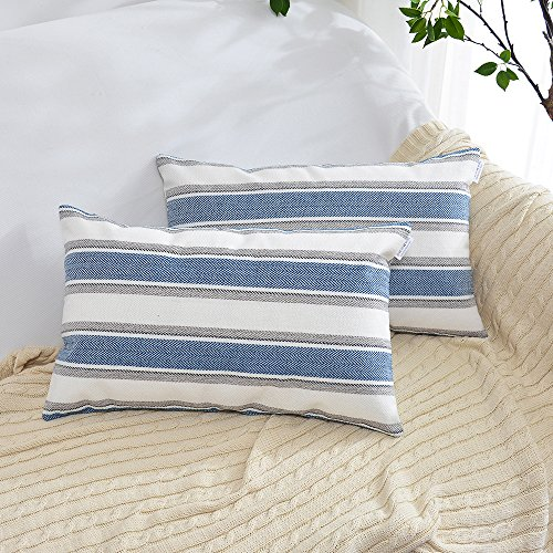 2 Pieces Navy Blue White Stripe Pillow Cases Soft Linen Square Decorative Throw Cushion Cover Pillowcase with Hidden Zipper for Sofa - 12