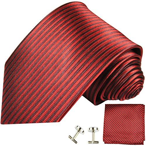 Cravate homme noir rouge rayée ensemble de cravate 3 Pièces ( longueur 165cm )