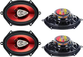 """BOSS CH5730 5x7"""" 600W 3-Way Car Coaxial Audio Stereo Speakers Red 2 PAIRS photo"""