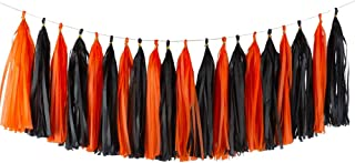 Aimto 20 قطعة من إكليل زهور ورقية مزينة بشراشيب سوداء وبرتقالي لامعة لتزيين حفلات الهالوين