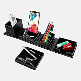 CXLE Remote Control Holder Organizer Box with 5 Compartment PU Leather Multi-Functional Office Organization and Storage Ca...