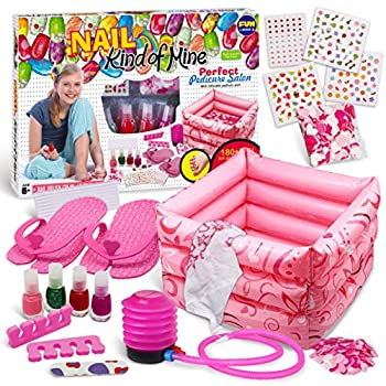 Manicure and Pedicure Kit for Kids FunKidz Girls Spa Set with Bigger Inflatable Foot Tub Inflator Pump Peelable Nail Polish Kit Sleepover Party Supplies