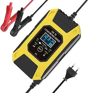 12V 24V smart pulsreparationsladdare LCD-skärm 7-stegs batteriladdare för bilmotorcykel (gul)